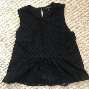 Banana Republic Black peplum top with lace detail